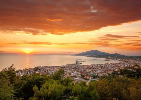 Lovely sunset view from Zakynthos