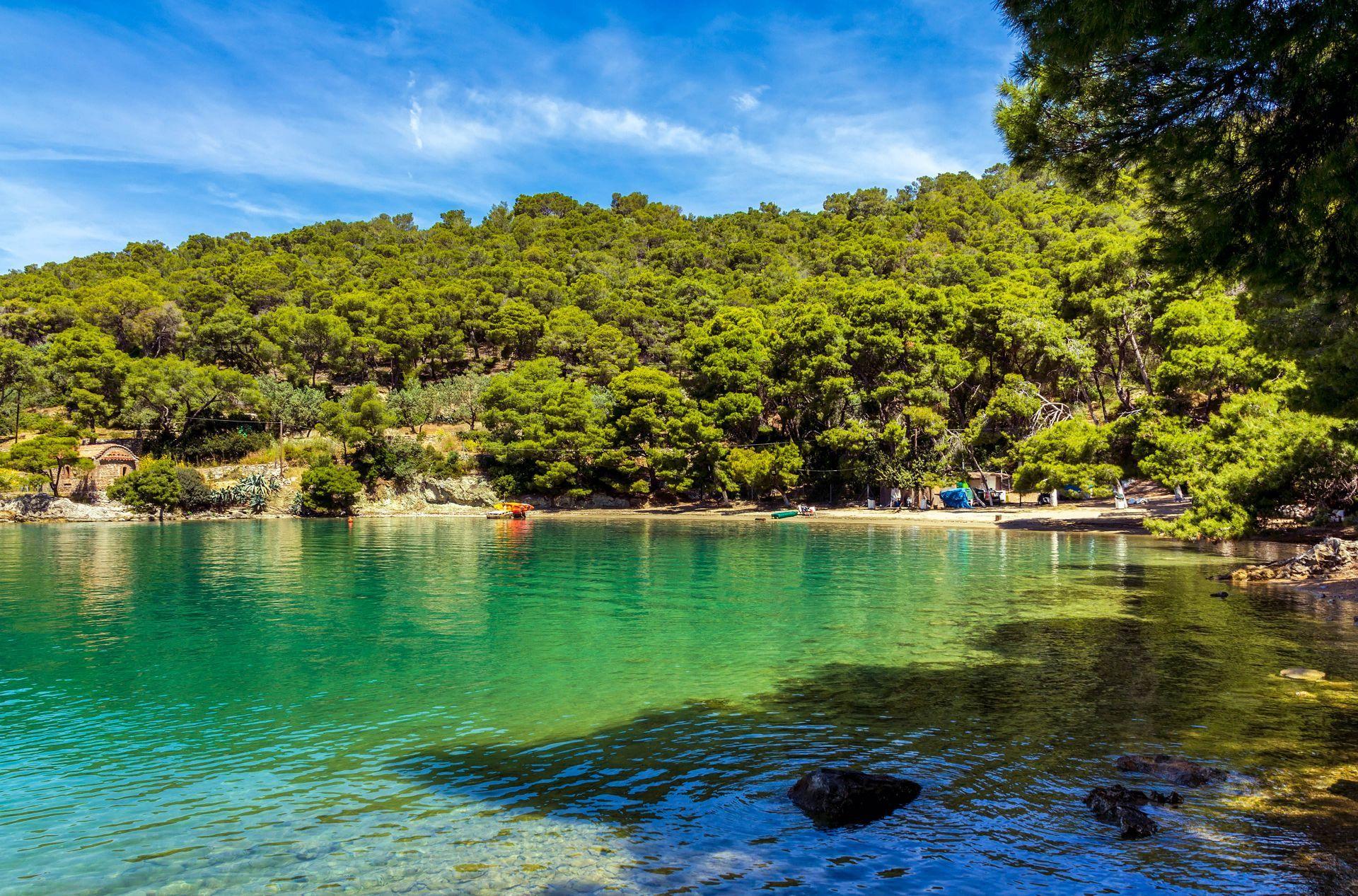 Saronic islands: Love bay beach on Poros island