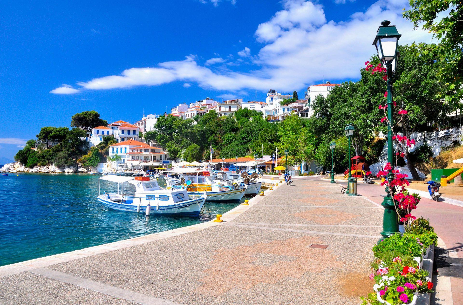 Sporades islands: The main town of Skiathos island
