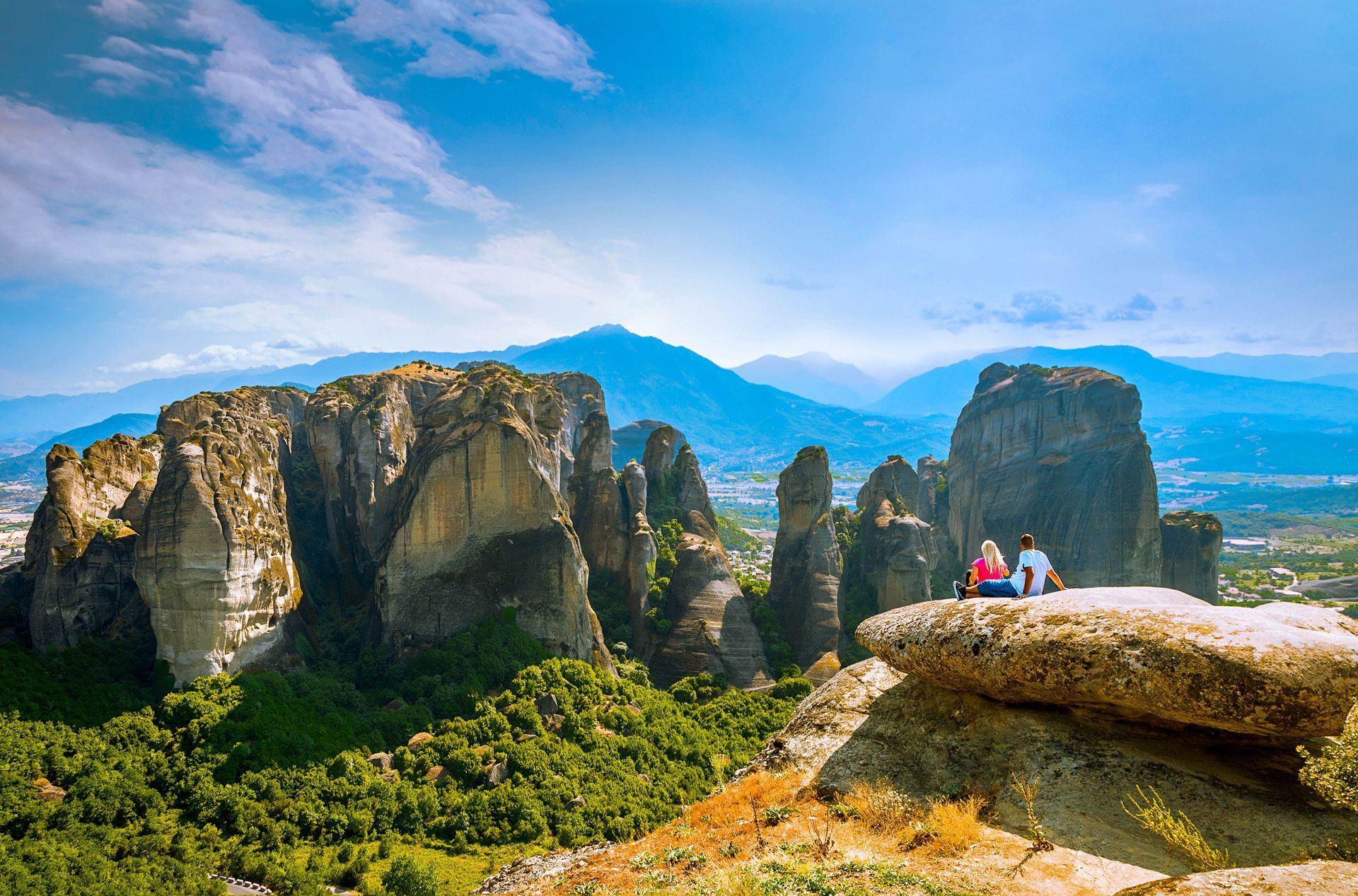 Thessaly Greece: The rock formations of Meteora
