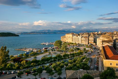 View of the area around the port of Corfu Town.