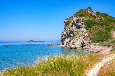 The impressive natural surroundings of Agouridi beach