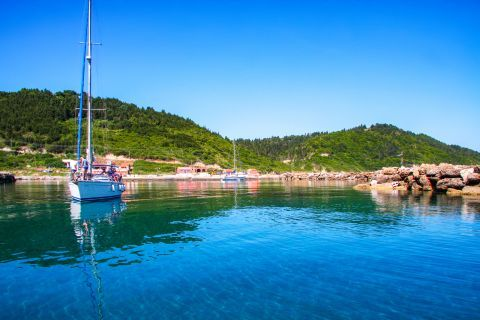 Beautiful nature and blue waters in Plakes village
