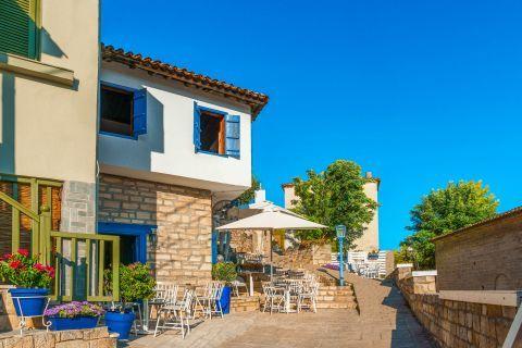 Picturesque buildings in Afitos village, Halkidiki