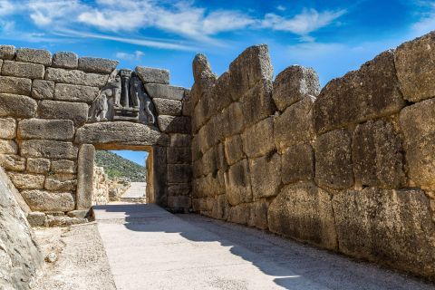 The Lion Gate, the main entrance of the Bronze Age settlement of Mycenae