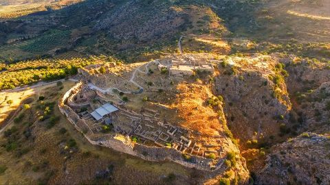 Panoramic view of the Archaeological site of Mycenae