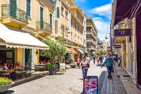 Hotels and shops in Patra.