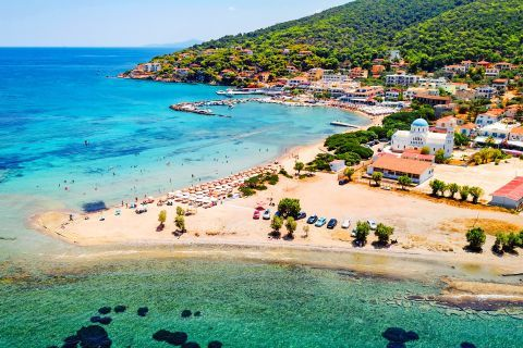 Turquoise waters and sand, Skala beach