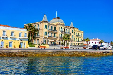 The impressive, Neoclassical building of Poseidonion Grand Hotel on Spetses