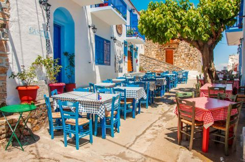 Traditional Greek taverns. Alonissos, Sporades.