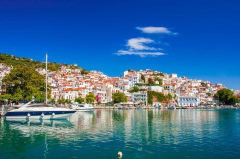 Skopelos, Sporades. View of the island's port.