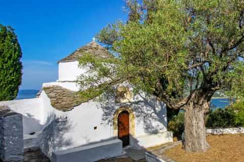 A picturesque monastery in Skopelos.
