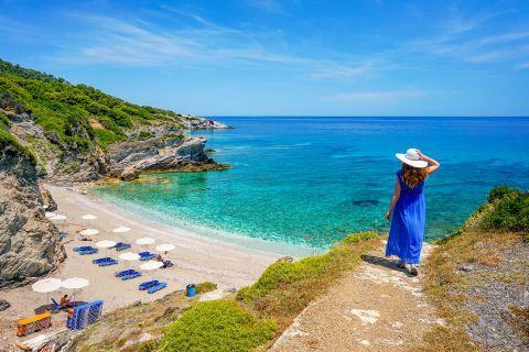 Admiring the splendid view. Perivoliou beach, Skopelos.