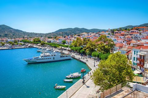 View of the main port of Skopelos.