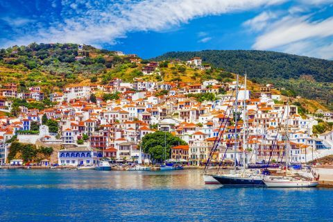 View of Skopelos Town.