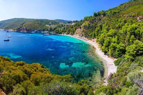 Amazing waters and lush vegetation. Stafilos bay, Skopelos.
