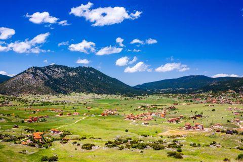 Impressive plains and green hills. Livadi village, Arachova