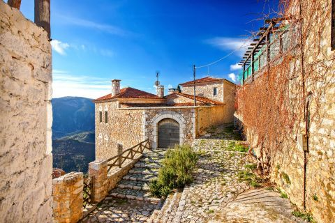 Buildings made of stone and paved streets, Arachova