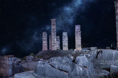 The Ancient site of Delphi in night time