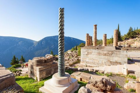 Remains of Ancient Temples in Delphi