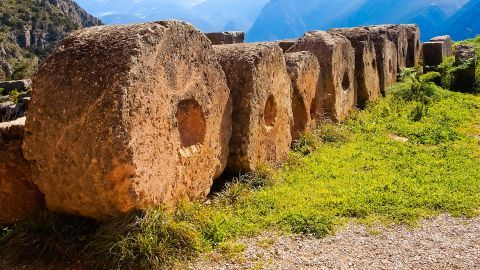 Ancient ruins in the Ancient site of Delphi