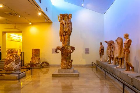 Statues, exhibited in the Archaeological museum of Delphi