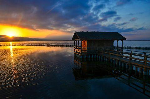 Impressive sight of the Sea Lake in Mesolongi during sunset
