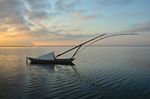A fishing boat, mooring on the waters of the Sea Lake of Mesolongi
