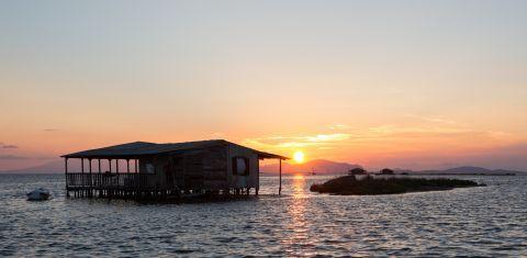 Sunset at the Sea Lake of Mesolongi