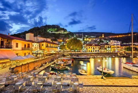 At the harbor of Nafpaktos Town in night time