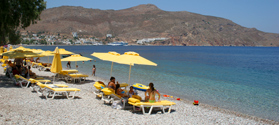 Beautiful port beach in Tilos