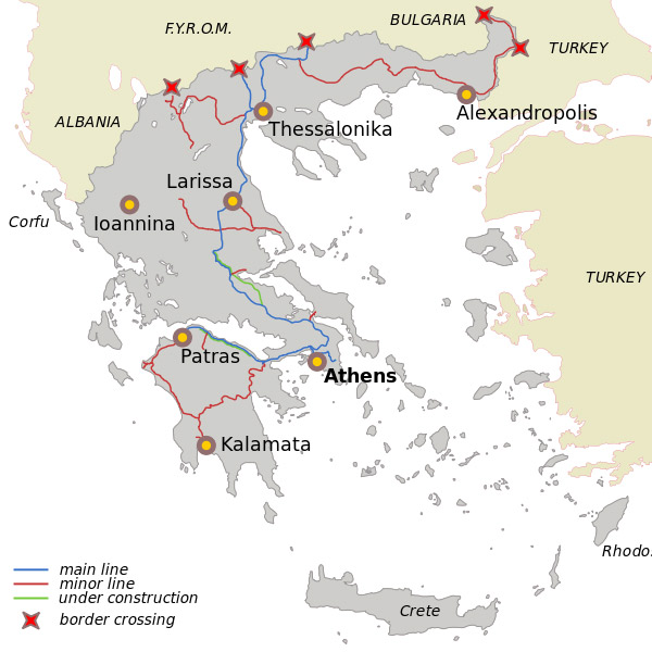 Map of Greece trains connections