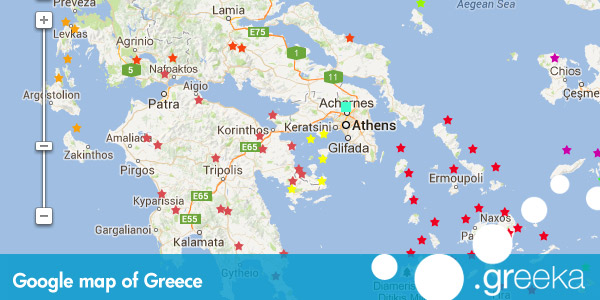 Google map of greece and the greek islands greece maps gumiabroncs Choice Image