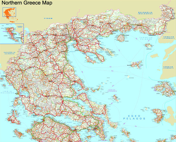 Northern Greece map to download