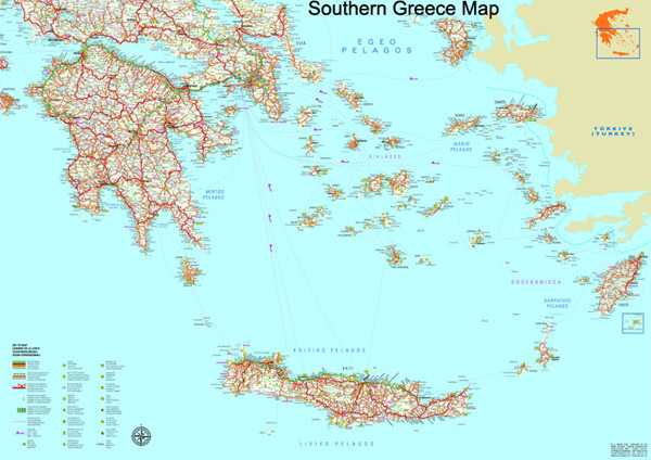 Southern Greece map to download