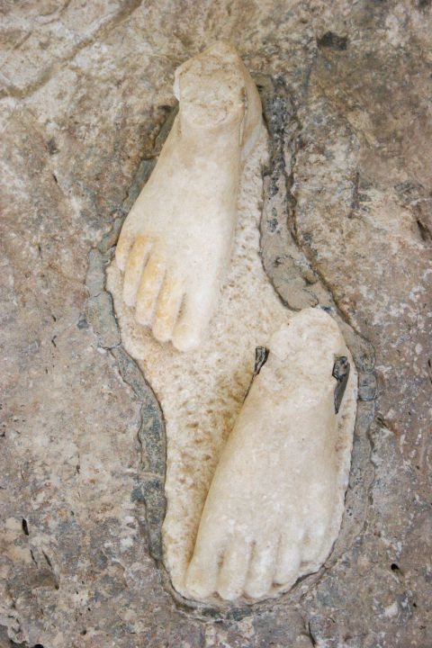 Archaeological Museum: Human feet exhibit