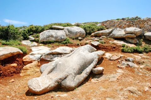 Melanes Kouros of Flerio: A Kouros statue in a lying position is found at a field in Flerio