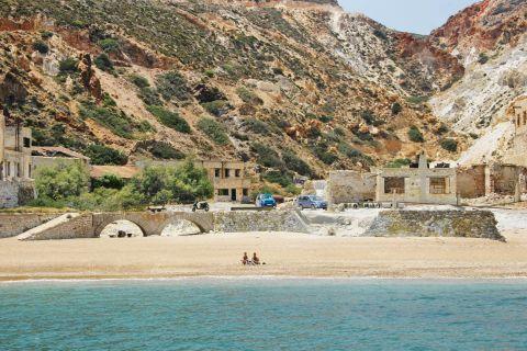 Sulfur Mines at Paliorema: At the sulfur mines of Milos on Paliorema beach