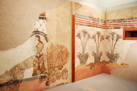 Prehistoric Thera Museum: Wall decoration exhibited in the Museum of Prehistoric Thera