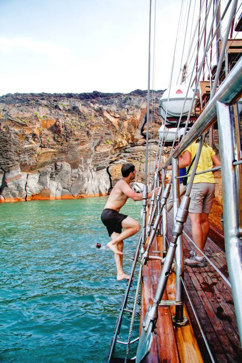 The hot springs of Santorini are popular among swimming lovers
