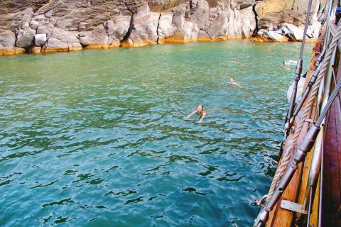 The azure waters of Santorini's hot springs