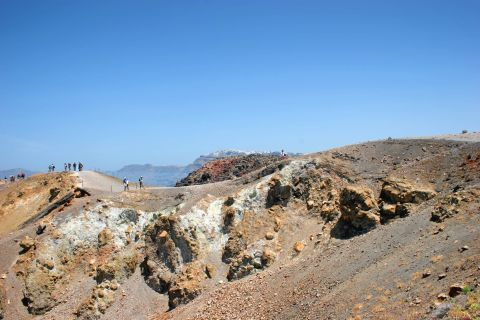 The rocky landscape of Santorini