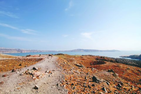 The volcanic land of Santorini lacks of rich flora in most of its parts