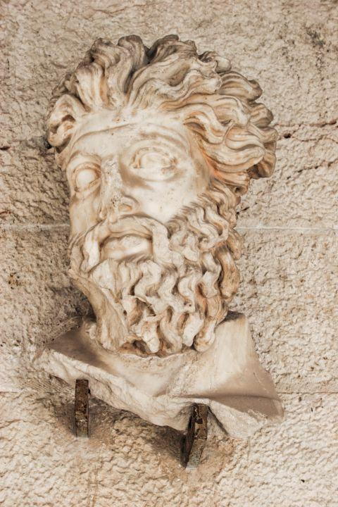 Ancient Agora: Face sculpture at the Stoa of Attalos