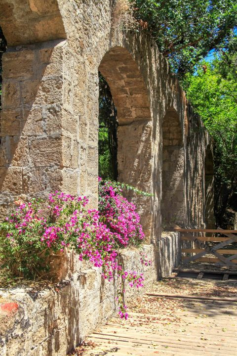 Rodini Park: Stone built constructions and colorful flowers.