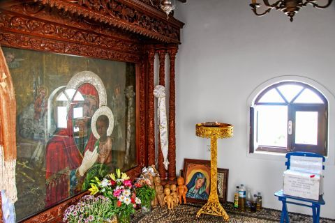 Panagia Tsambika: The icon of Panagia Tsambika is believed to be miracle-working for childless women, so many offer to the icon child dolls.