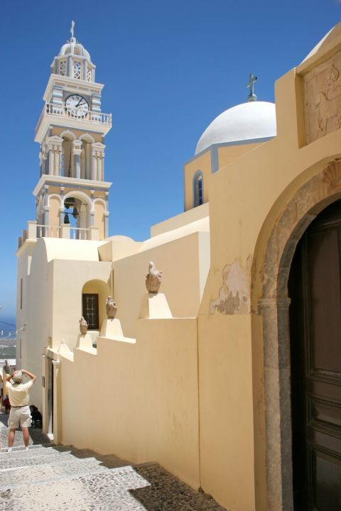 The Catholic Cathedral of Santorini distinguishes for its vibrant colors