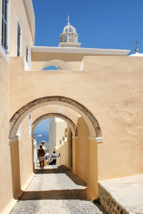 A part of the Catholic Cathedral of Santorini