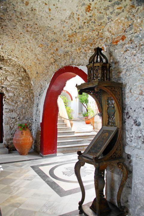 Prophet Elias Monastery: The Monastery of Prophet Elias: An icon and beautiful flower pots