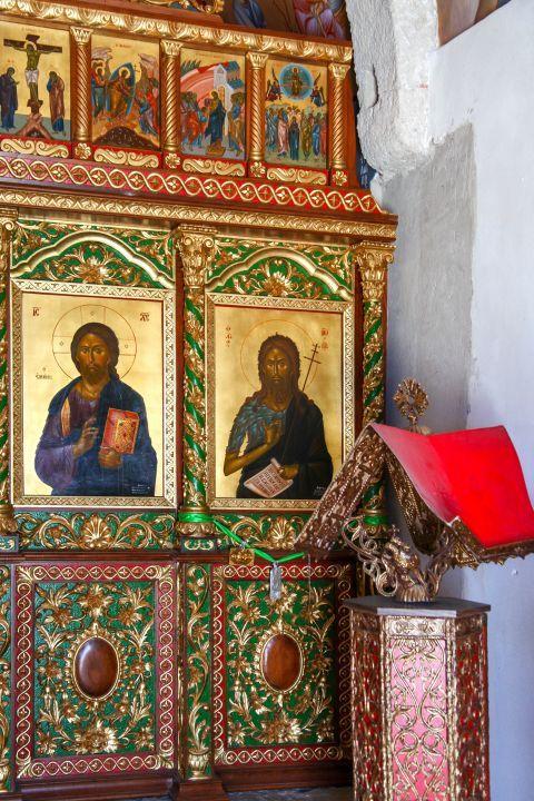 Agios Ioannis Monastery: An icon of Jesus and an icon of Saint John the Baptist.